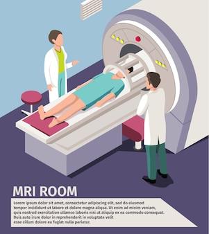 Scansione e diagnostica di concetto mri della medicina macchina dello scanner di menzogne paziente in ospedale