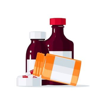 Concetto di medicina con pillole che fuoriescono dalla bottiglia del farmaco in llustration stile piatto