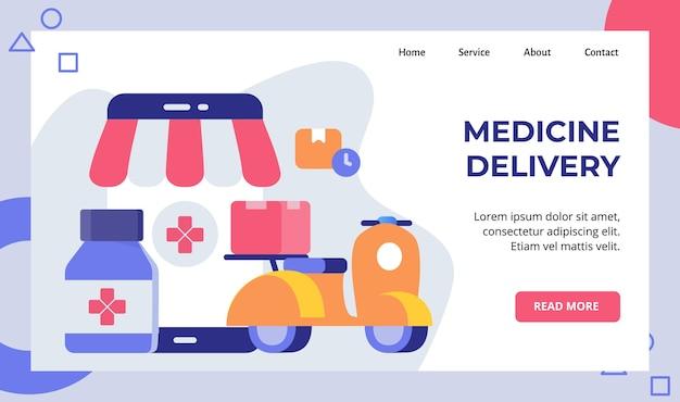 La motocicletta dello scooter di consegna della medicina trasporta la campagna della scatola della farmacia per la pagina di destinazione della home page del sito web