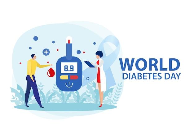 Concetto di diabete di medicina con uomo che misura lo zucchero nel sangue con il glucometro.