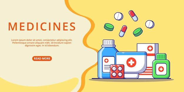Modello web della raccolta di farmaci della medicina per l'illustrazione piana del fumetto della pagina di destinazione.