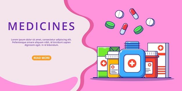 Raccolta di farmaci della medicina con il modello di sito web per l'illustrazione piana del fumetto della pagina di destinazione.