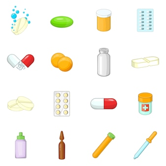 Set di icone di farmaci di medicina