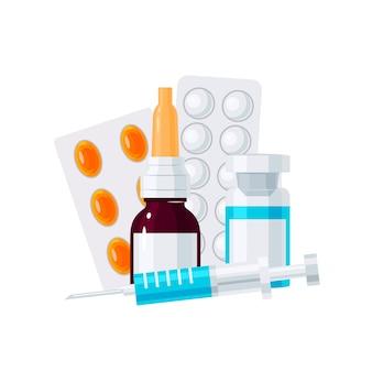 Illustrazione di elementi di medicina in stile piano