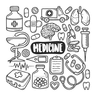 Medicina disegnata a mano doodle da colorare