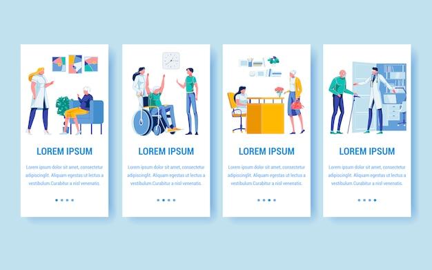 Medicina e assistenza sanitaria per le persone anziane piatte.