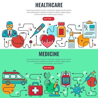 Bandiere orizzontali di medicina e sanità con icone a linee colorate medico, coronavirus, trasfusione di sangue, cardiogramma, prescrizione. infografiche di processo. isolato