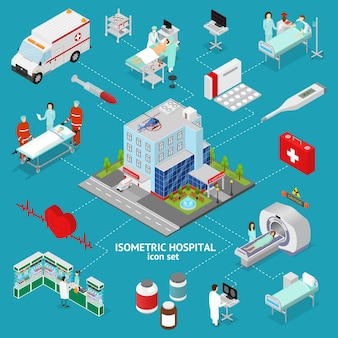 Medicina ospedale concetto vista isometrica edificio architettura ed elemento servizio assistenza professionale. illustrazione vettoriale