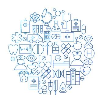 Disegno del cerchio dell'icona della linea di medicina. illustrazione vettoriale di oggetti medici e sanitari.