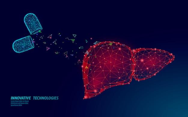 Medicina trattamento medico del fegato. epatite avvertenza diagnostica della salute umana cirrosi organo sistema. il virus dell'infezione digestiva di terapia medica protegge il concetto della droga. low poly
