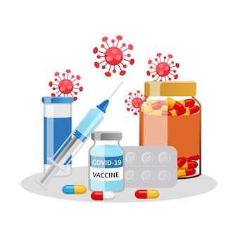 Oggetti di medicina set di vaccino contro il virus corona e vitamine design vettoriale piatto