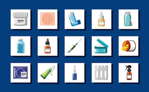 Insieme medico di prescrizione di medicina farmacia