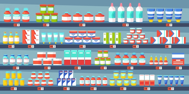 Scaffali di farmacia di medicina. interno del negozio della farmacia, bottiglie di pillole della medicina, illustrazione medica di concetto della farmacia di trattamenti dell'antidolorifico. farmacia farmaco, cura farmacia interno