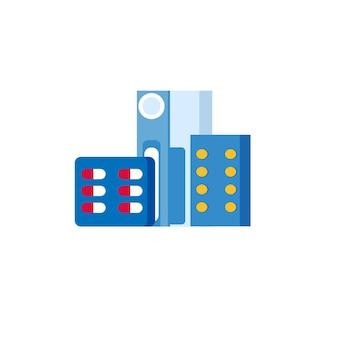 Pillole medicinali scatola per farmaci compresse capsule prescrizioni e vitamine