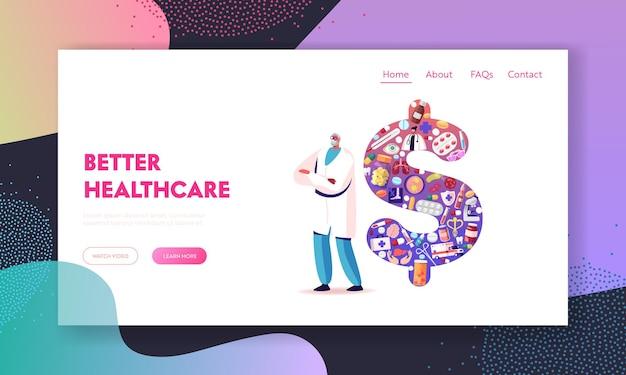 Modello di pagina di destinazione del prezzo della medicina e del costo del servizio.
