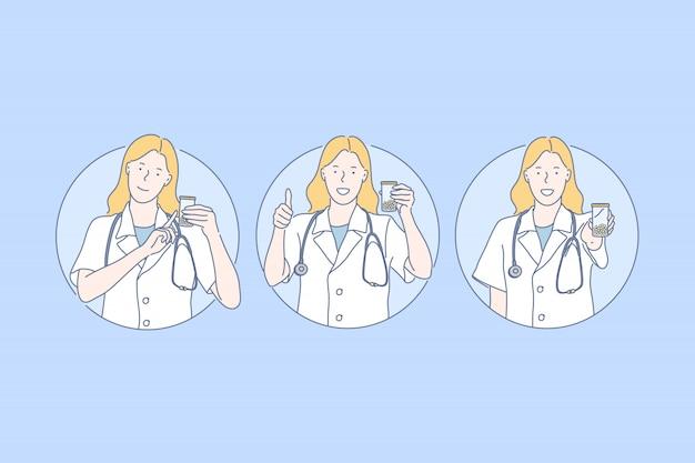 Medicina, pubblicità di rimedio, concetto di raccomandazione del medico