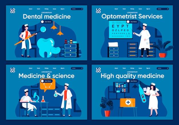 Set di landing page piane di medicina e scienza. diagnostica di laboratorio, scene di ricerca farmacologica per sito web o pagina web cms. illustrazione di servizi di medicina dentale e optometrista di alta qualità