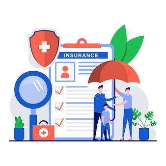Concetto di supporto della medicina con carattere di persone minuscole utilizzando l'ombrello come protezione