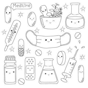 Tema della medicina pagina del libro da colorare per bambini