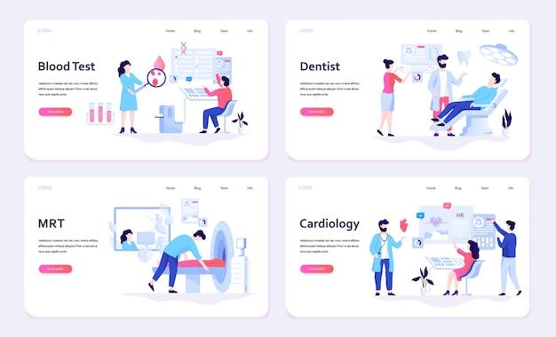 Insieme di concetto di banner web medicina. analisi del sangue e dentista