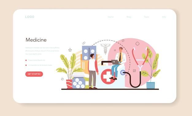 Banner web di medicina o pagina di destinazione. medico specialista in divisa