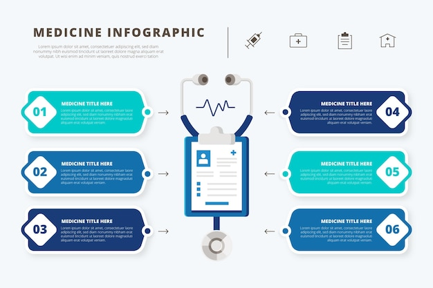 Infografica di farmaci in design piatto