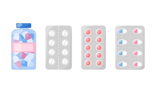 Set di medicinali capsule pillole compresse medicinali e vitamine in confezioni prodotti farmaceutici