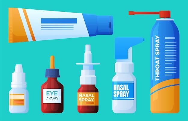 Medicinali. spray per la gola, gocce nasali, crema.