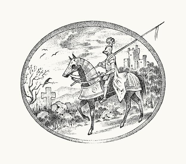 Cavaliere armato medievale a cavallo