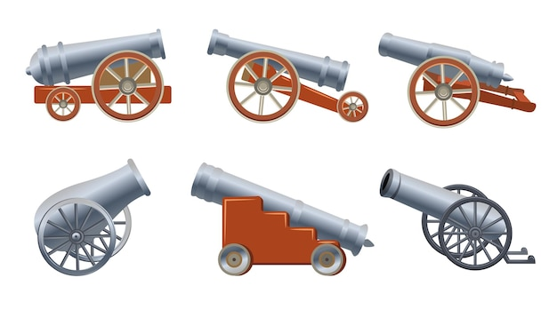 Cannone medievale ambientato in stile cartone animato. illustrazione