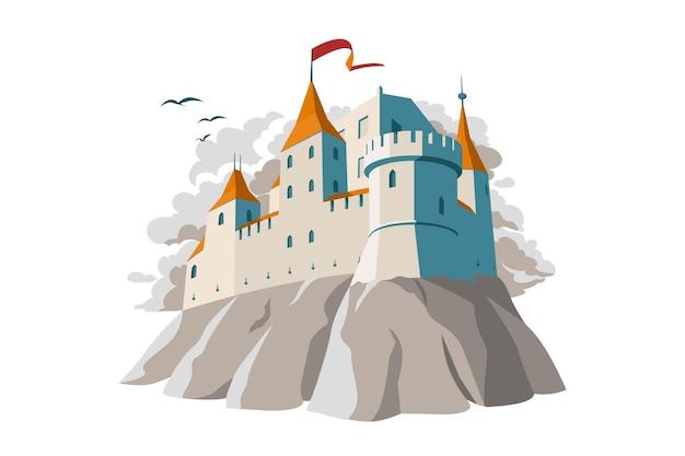 Illustrazione vettoriale del castello medievale sulla collina fortezza fortificata in colori grigi con finestre ad arco
