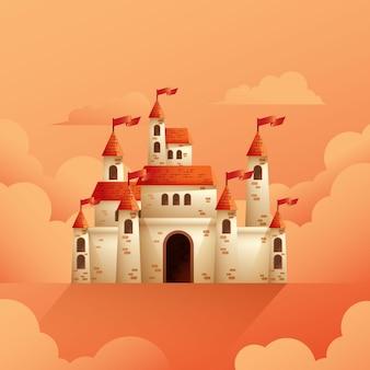 Illustrazione del castello medievale su nuvoloso fantasia o palazzo da favola torre regno