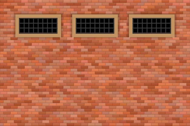 Illustrazione medievale delle finestre e del muro di mattoni del castello