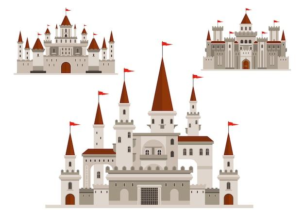 Castelli medievali del palazzo del regno delle fiabe, fortezza fortificata del re coraggioso e residenza reale con mura e torri, finestre ad arco d'epoca con balconi, torrette con bandiere