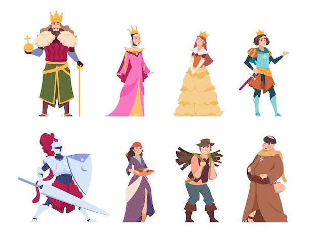 Personaggi medievali. persone storiche piatte, re regina principe e principessa insieme reale.