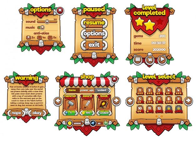 Finestra di gioco medievale Vettore Premium