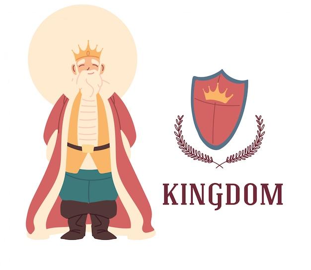 Re medievale e scudo design del regno e delle fiabe