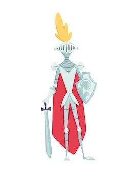 Carattere del regno medievale del medioevo periodo storico s. cavaliere in armatura.