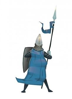 Cavaliere medievale in armatura con scudo e lancia, vista posteriore. illustrazione, .