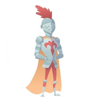 Illustrazione piana del cavaliere medievale in armatura completa. la caricatura comica. cavaliere divertente del fumetto.
