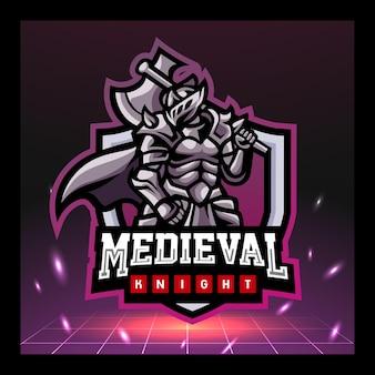 Design del logo esport della mascotte del cavaliere medievale