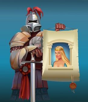 Cavaliere medievale con un poster in mano alla ricerca della sua illustrazione della principessa