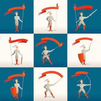 Cavalieri medievali con lancia, spada, scudo, arco e bandiera, banner