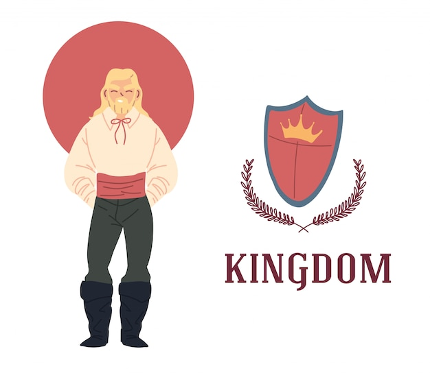 Design medievale di uomo e scudo del regno e delle fiabe