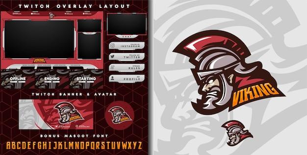 Logo cavaliere spartano medievale per logo mascotte giochi e-sport e modello overlay twitch