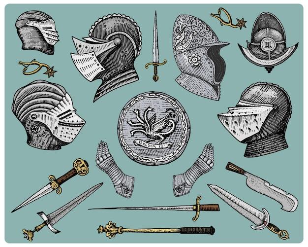 Simboli medievali, elmo e guanti, scudo con drago e spada, coltello e mazza, sperone vintage, inciso disegnato a mano in stile schizzo o taglio legno, vecchio dall'aspetto retrò
