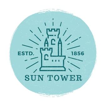Vettore di etichetta torre medievale Vettore Premium