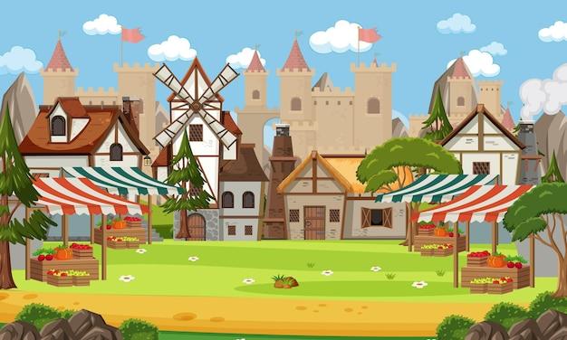 Scena della città medievale con mercato
