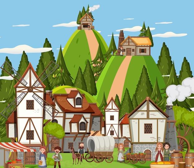 Scena della città medievale con gli abitanti del villaggio