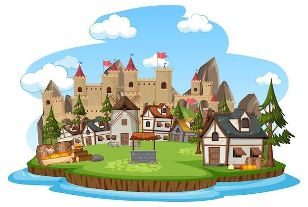Scena del villaggio medievale su sfondo bianco